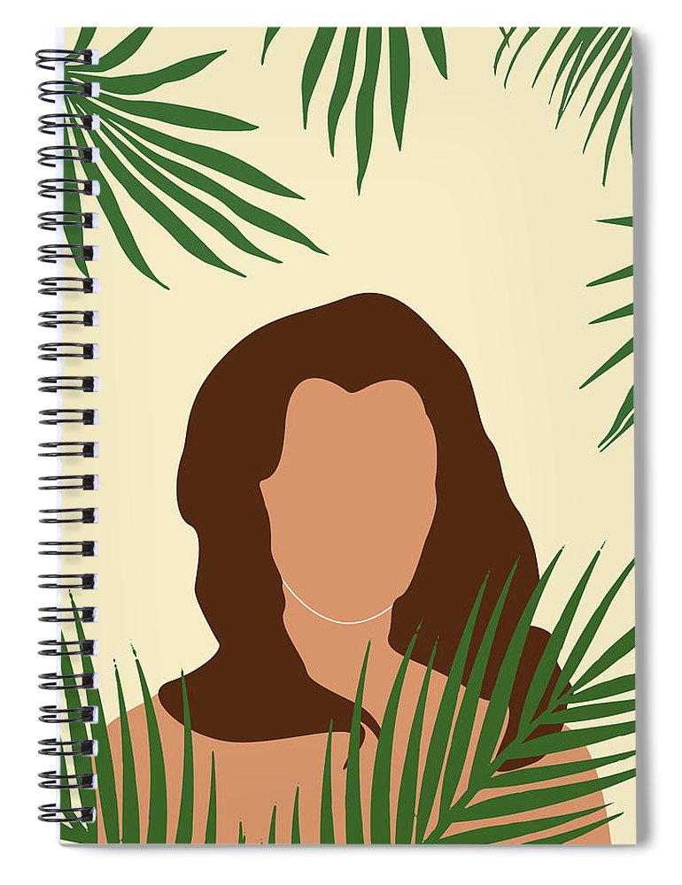 Tropical Spiral Notebook featuring the mixed media Tropical Reverie 5 - Modern, Minimal Illustration - Girl And Palm Leaves - Aesthetic Tropical Vibes by Studio Grafiikka