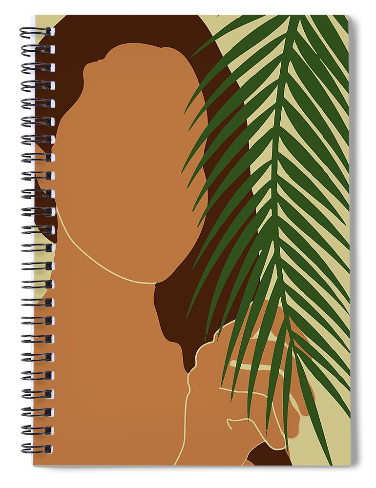 Tropical Reverie Spiral Notebook featuring the mixed media Tropical Reverie - Modern Minimal Illustration 01 - Girl With Palm Leaf - Tropical Aesthetic - Brown by Studio Grafiikka
