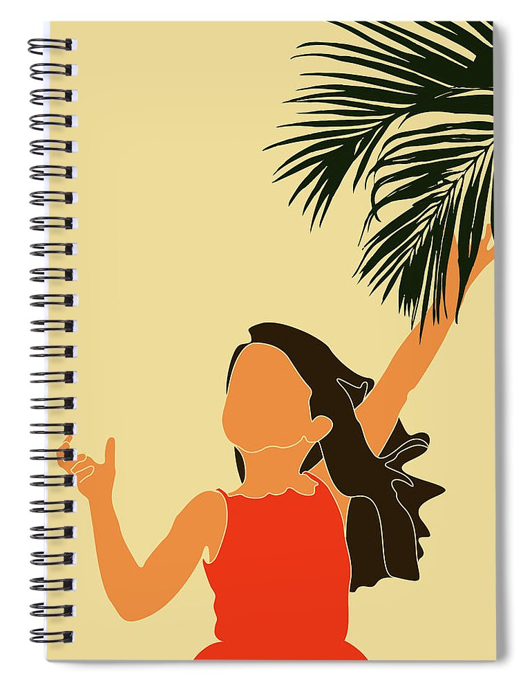 Tropical Reverie Spiral Notebook featuring the mixed media Tropical Reverie - Modern Minimal Illustration 18 - Little Girl, Palm Leaf - Tropical Aesthetic by Studio Grafiikka