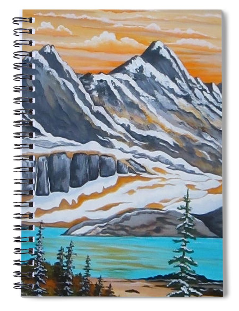 Mountains Spiral Notebook featuring the painting Twin Peaks by Carol Sabo