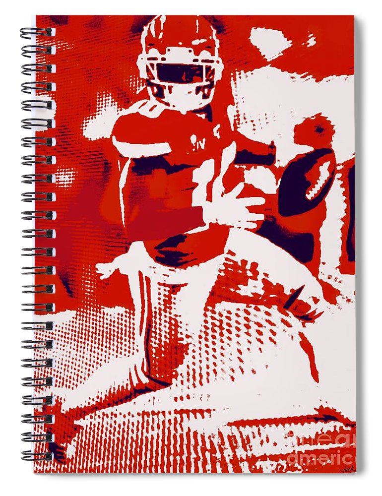 Tyreek Spiral Notebook featuring the painting Tyreek Hill SB by Jack Bunds