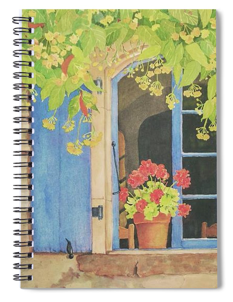France Spiral Notebook featuring the painting Vacation Memory by Mary Ellen Mueller Legault