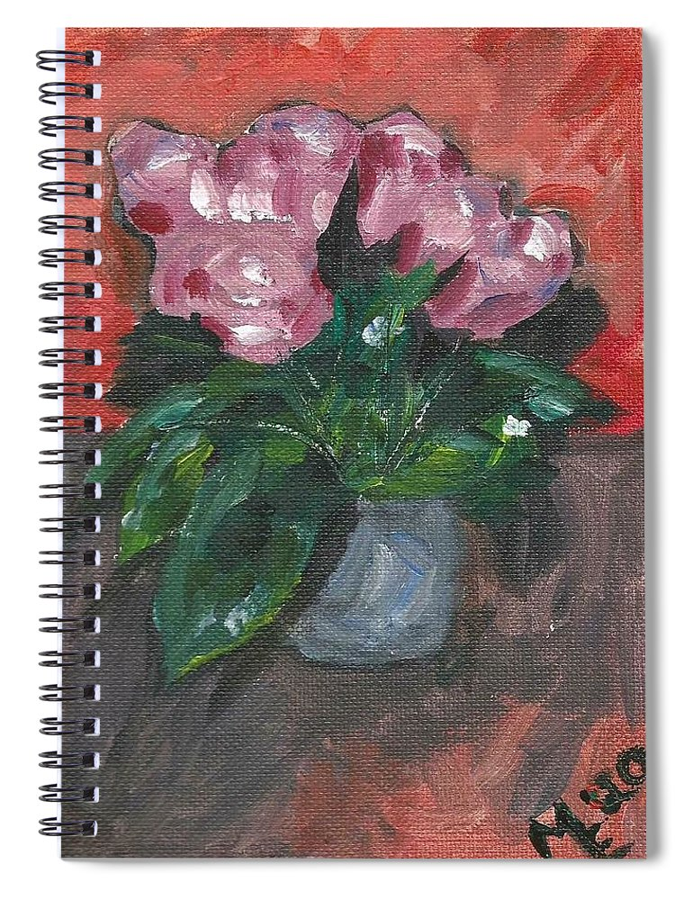 Rose Spiral Notebook featuring the painting Vase of Roses by Monica Resinger