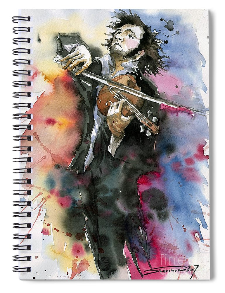 Music Spiral Notebook featuring the painting Violine player. by Yuriy Shevchuk