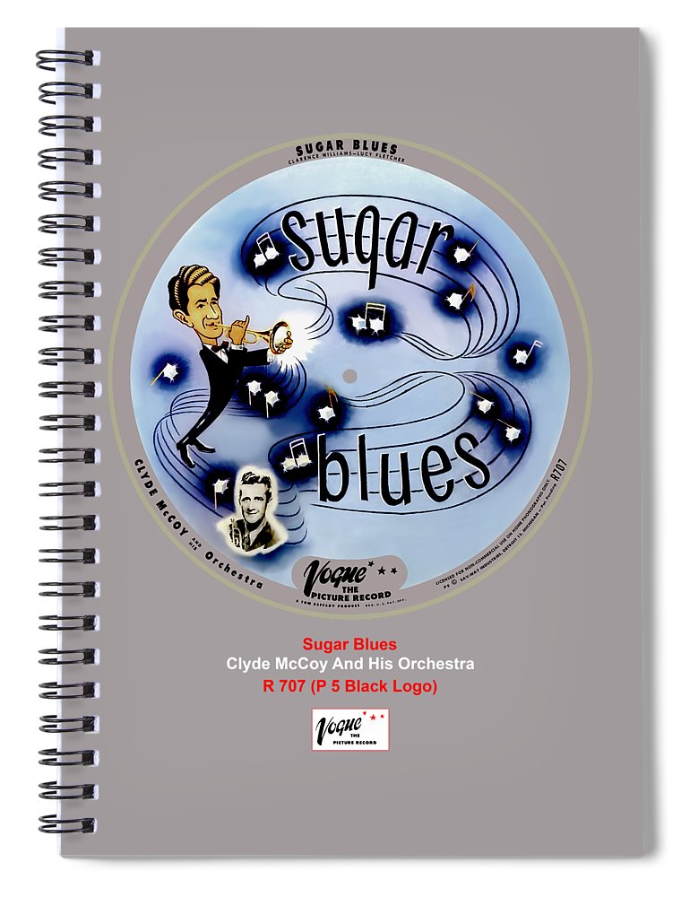 Vogue Picture Record Spiral Notebook featuring the digital art Vogue Record Art - R 707 - P 5, Black Logo by John Robert Beck