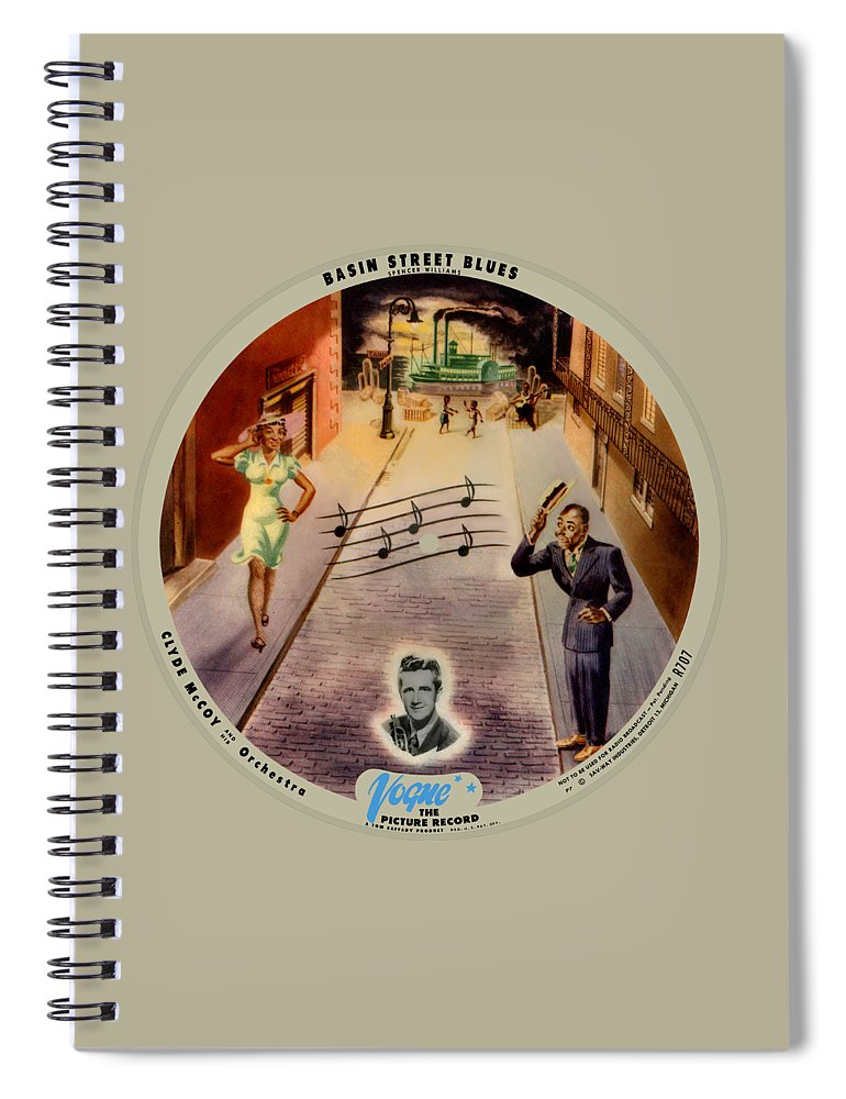 Vogue Picture Record Spiral Notebook featuring the digital art Vogue Record Art - R 707 - P 7, Blue Logo - Square Version by John Robert Beck