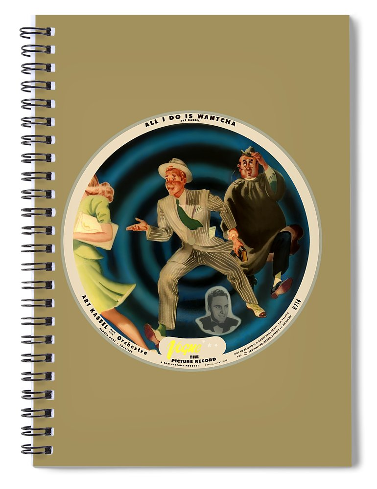 Vogue Picture Record Spiral Notebook featuring the digital art Vogue Record Art - R 714 - P 22, Yellow Logo - Square Version by John Robert Beck
