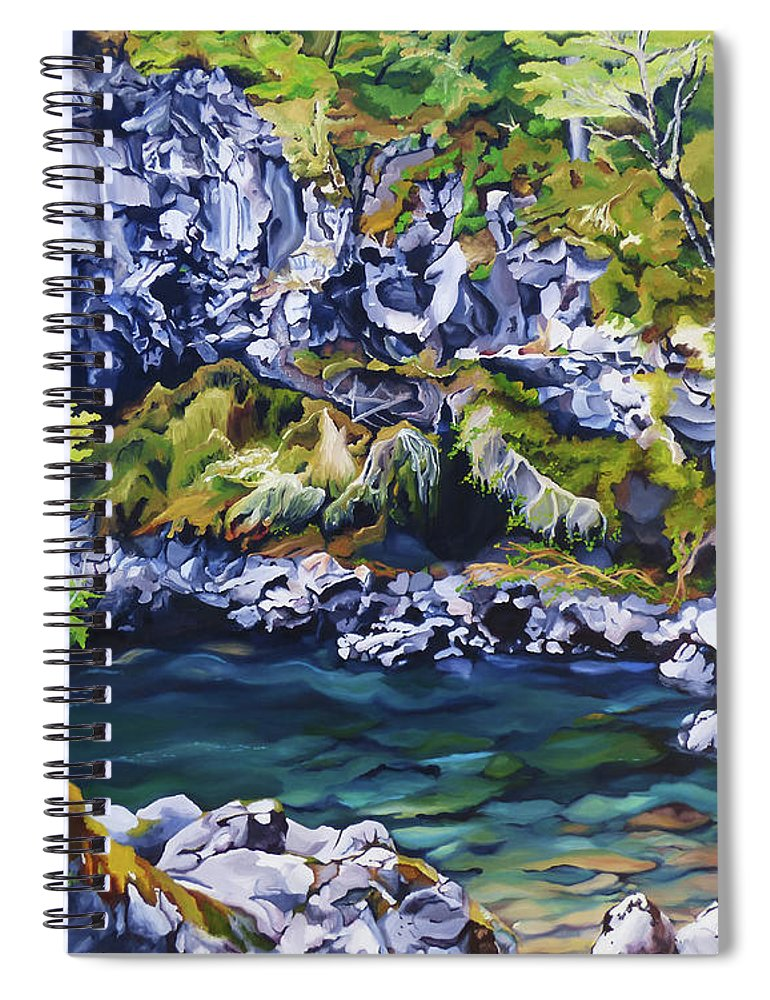 Petrohue Spiral Notebook featuring the painting Volcano Lagoon by Brittany Bert Selfe