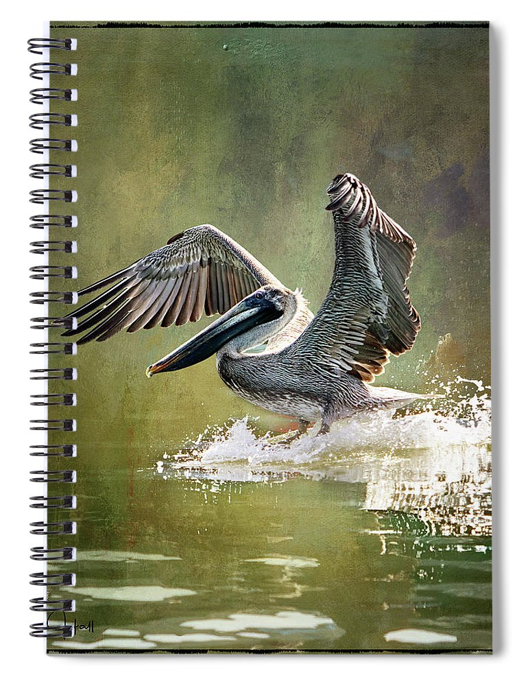 Pelican Spiral Notebook featuring the digital art Walking on Water by Linda Lee Hall