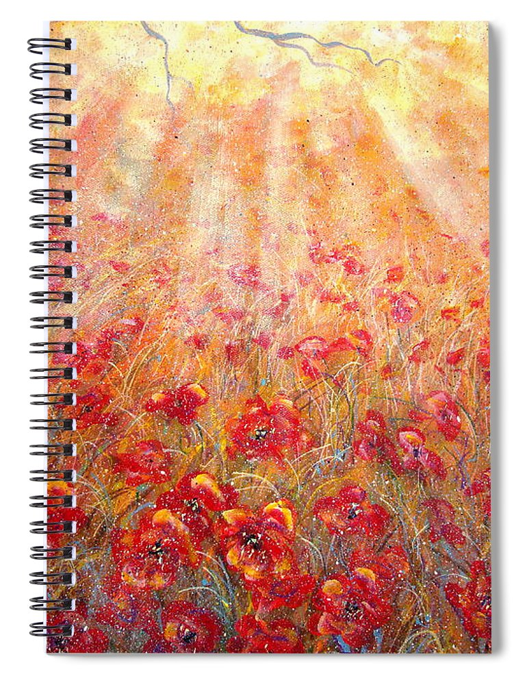 Landscape Spiral Notebook featuring the painting Warm Sun Rays by Natalie Holland