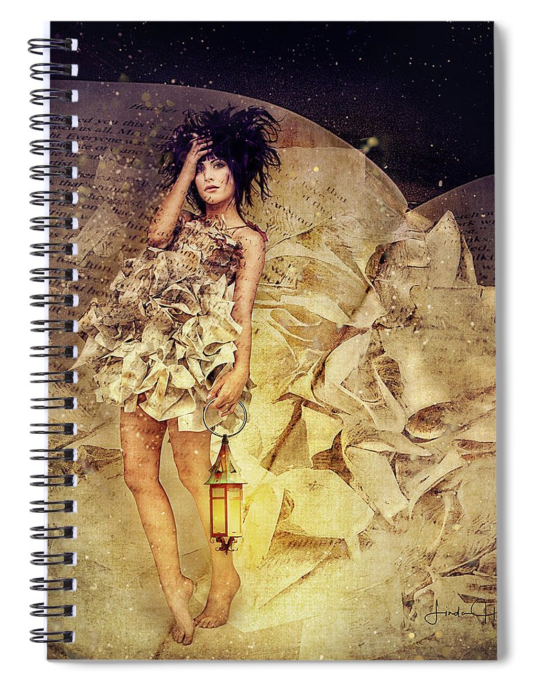Yellow Spiral Notebook featuring the digital art When the Pages Come Alive by Linda Lee Hall