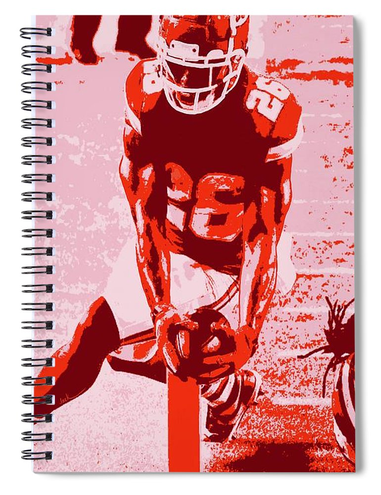 Damien Williams Spiral Notebook featuring the painting Williams Super Bowl TD by Jack Bunds
