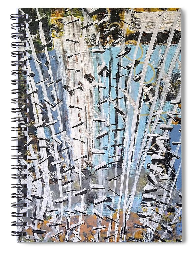 White Spiral Notebook featuring the painting Winter Forest by Pam Roth O'Mara