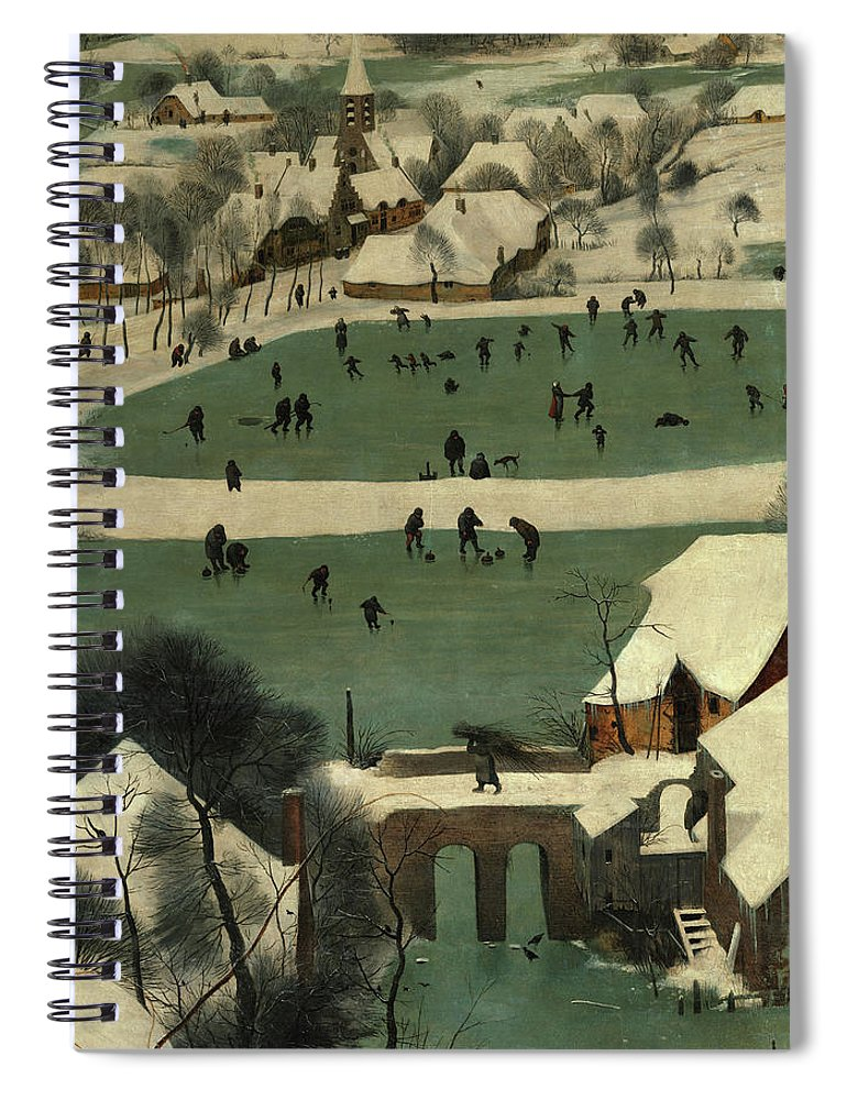 Pieter Bruegel The Elder Spiral Notebook featuring the painting Wintry Scene, The Hunters In The Snow, 1565 by Pieter Bruegel the Elder