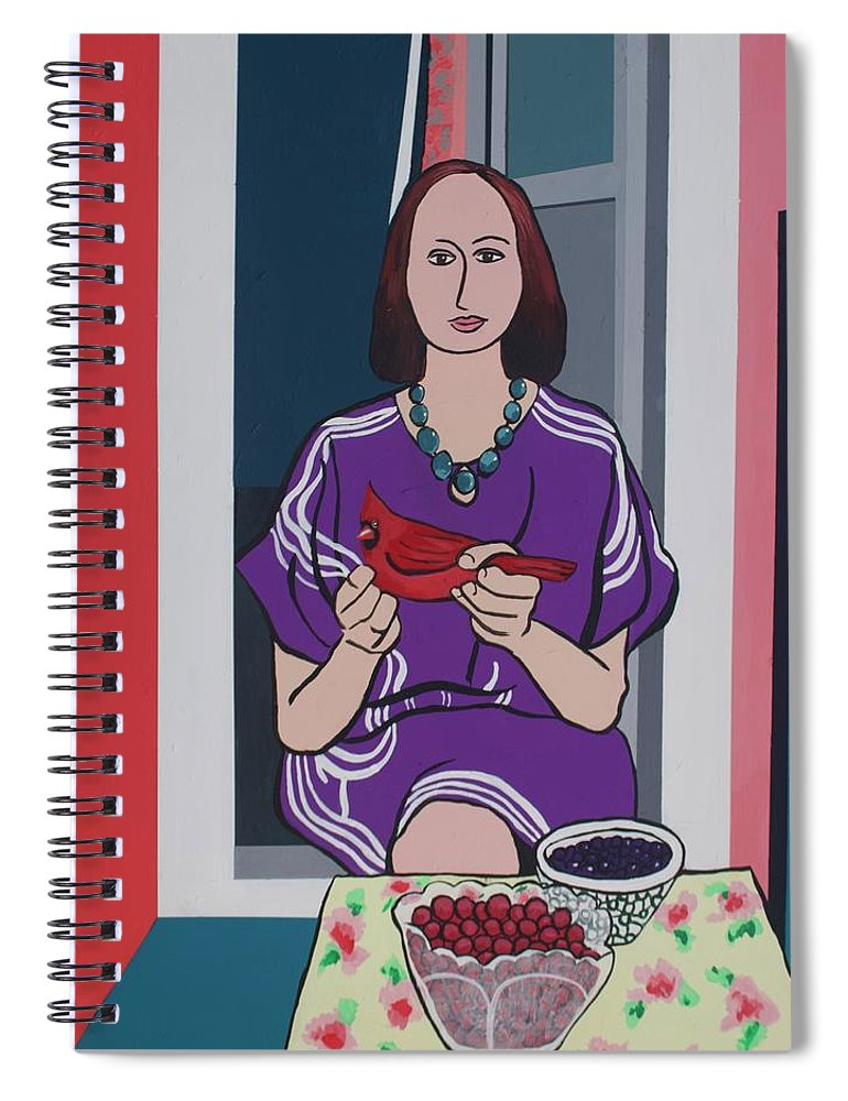 Bird Spiral Notebook featuring the painting Woman, Bird, and Berries - A Tribute to Henri Matisse by Rollin Kocsis