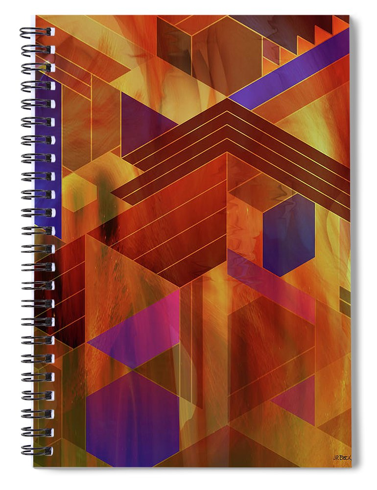Wrightian Reflections Spiral Notebook featuring the digital art Wrightian Reflections by Studio B Prints