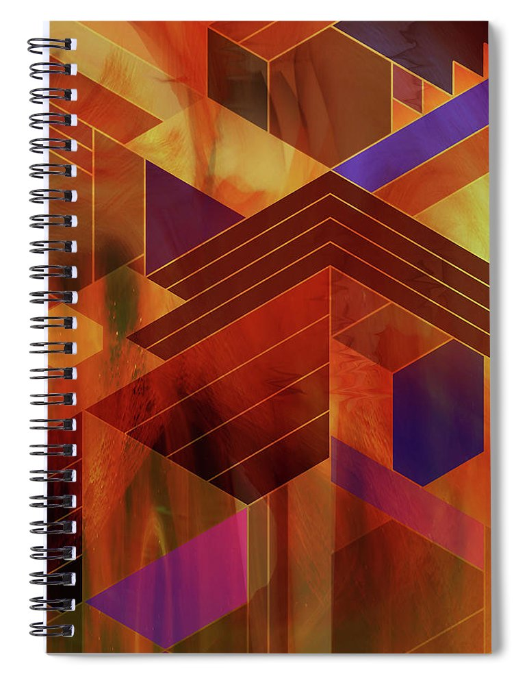 Frank Lloyd Wright Spiral Notebook featuring the digital art Wrightian Reflections - Square Version by Studio B Prints