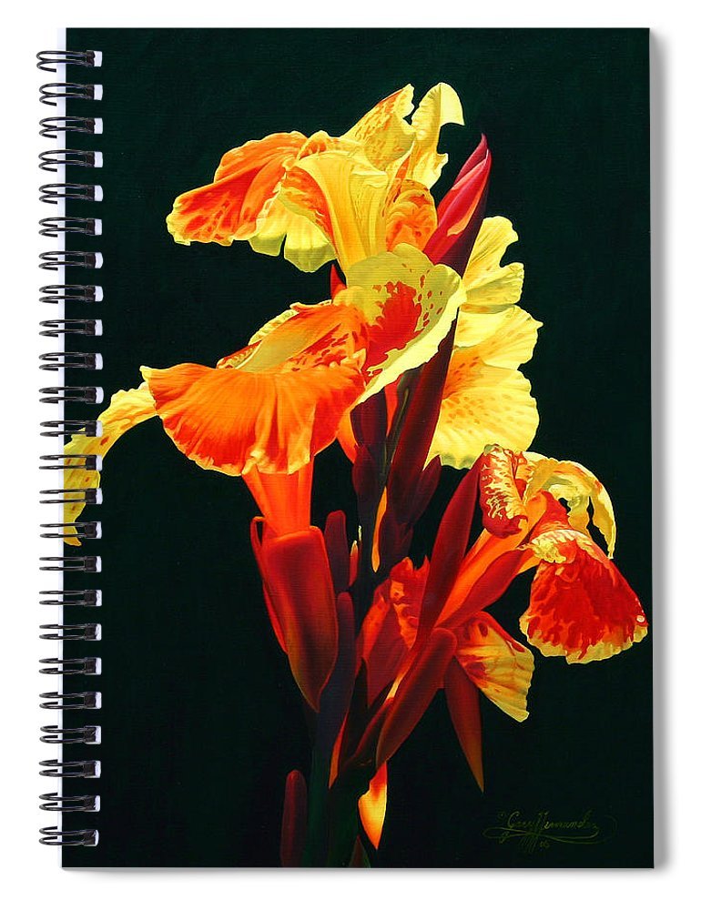 Flowers Spiral Notebook featuring the painting Yellow Cannas by Gary Hernandez