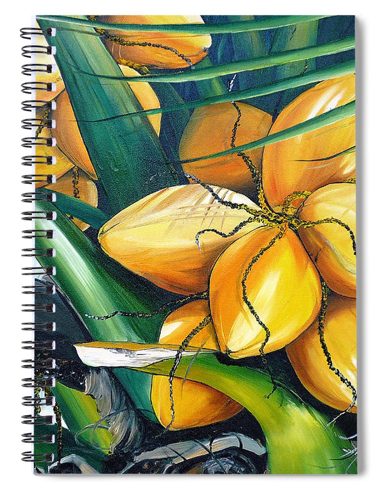 Coconut Painting Botanical Painting  Tropical Painting Caribbean Painting Original Painting Of Yellow Coconuts On The Palm Tree Spiral Notebook featuring the painting Yellow Coconuts by Karin Dawn Kelshall- Best