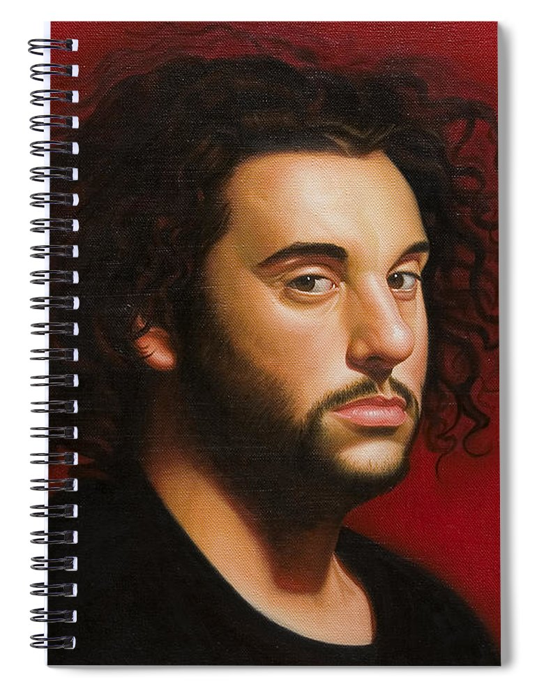 Portrait Of A Young Man Spiral Notebook featuring the painting Young Man in Black by Gary Hernandez