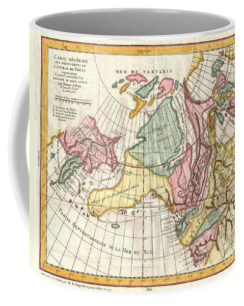 Coffee Mug featuring the photograph A Truly Fascinating 1772 Map Of The Northwestern Parts Of North America By Robert De Vaugondy And T by Paul Fearn