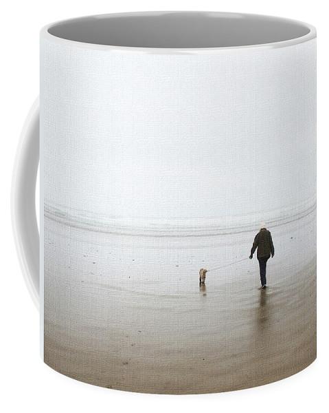 At The Beach On A Foggy Day Coffee Mug featuring the photograph At The Beach On A Foggy Day by Tom Janca