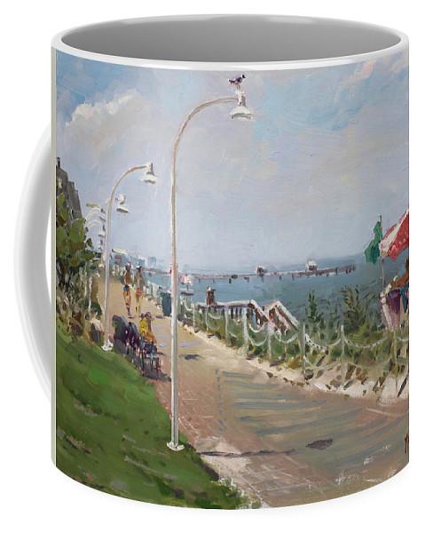 Norfolk Coffee Mug featuring the painting Beach Border Walk In Norfolk Va by Ylli Haruni