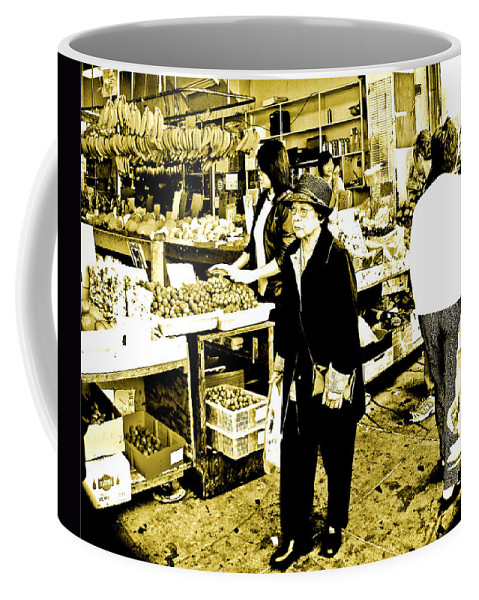San Francisco Chinatown Coffee Mug featuring the photograph China Town Marketplace by Joseph Coulombe