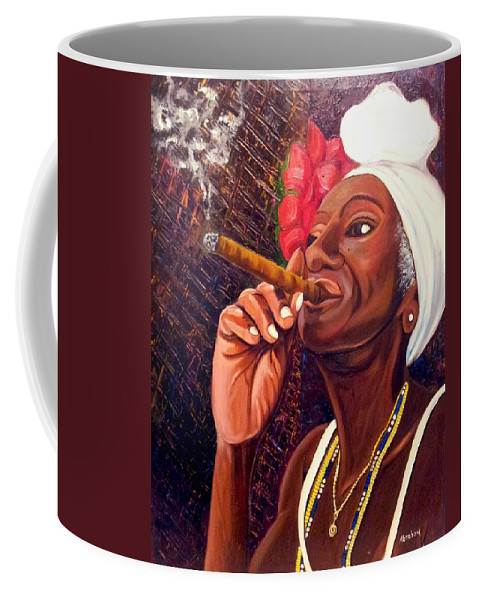 Cuban Art Coffee Mug featuring the painting  Cigar Lady by Jose Manuel Abraham