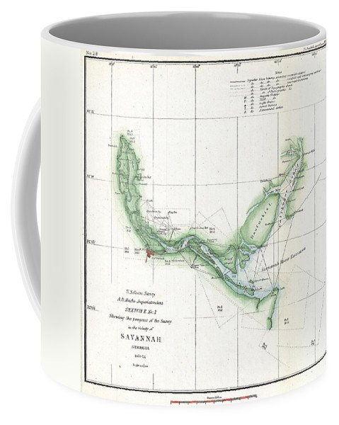 Coffee Mug featuring the photograph Coast Survey Chart Or Map Of The Savannah River Ans Savannah Georgia by Paul Fearn
