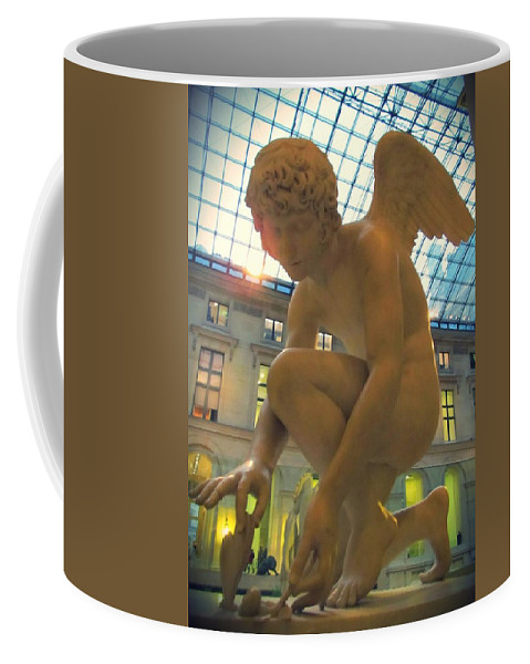 Cupid Playing With A Butterfly Coffee Mug featuring the photograph Cupid Playing With A Butterfly - Louvre Museum Paris by Marianna Mills