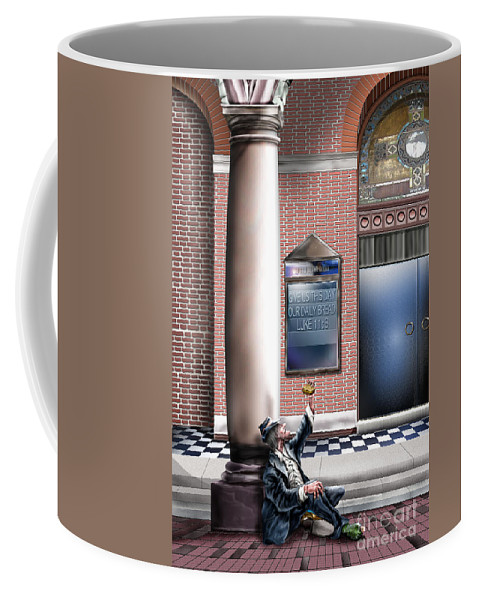 Homeless Man Coffee Mug featuring the painting Daily Bread A1 by Reggie Duffie