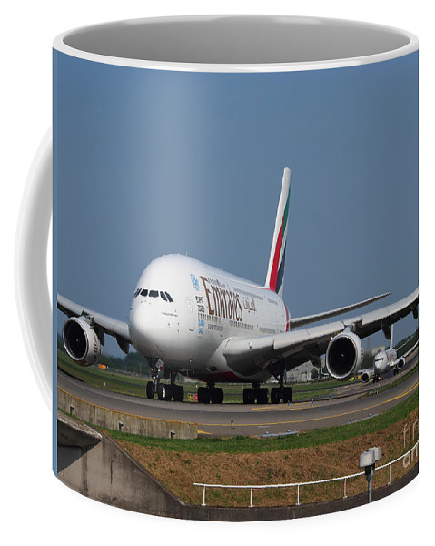 737 Coffee Mug featuring the photograph Emirates Airbus A380 by Paul Fearn