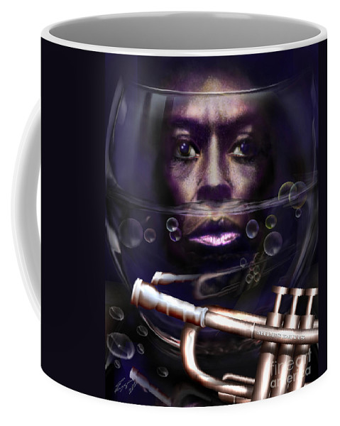 Miles Davis Coffee Mug featuring the painting Fish Bowl Of Miles by Reggie Duffie