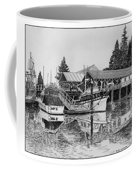 Net Sheds Coffee Mug featuring the drawing Net Shed Gig Harbor by Jack Pumphrey