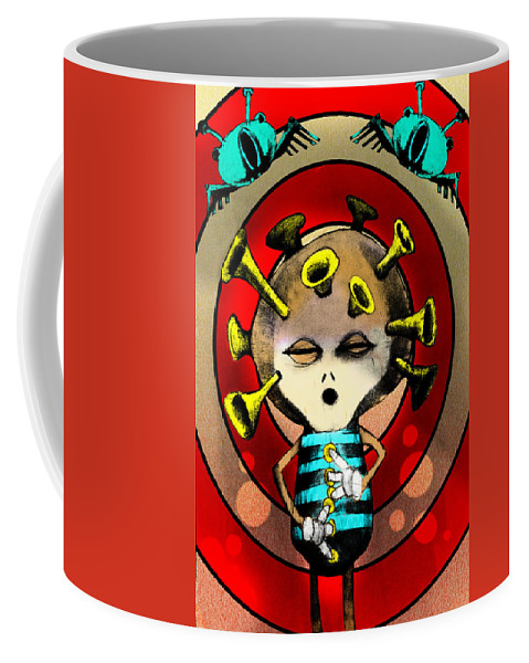 Cartoon Coffee Mug featuring the painting Jazzplayer by Johan Lilja
