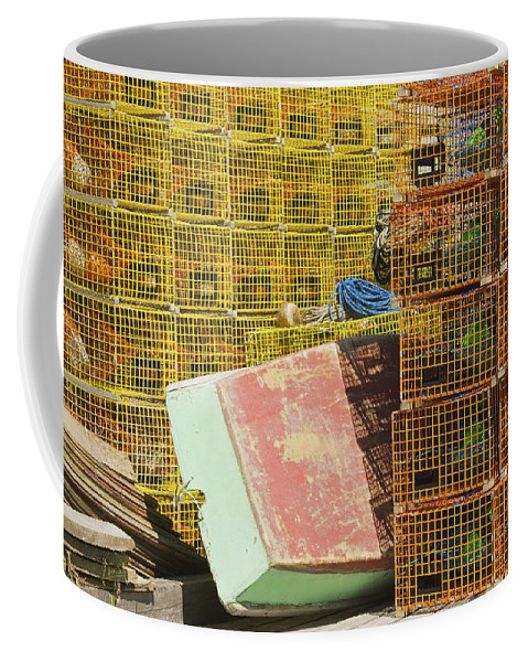 Lobstertrap Coffee Mug featuring the photograph Lobster Traps And Dinghy On Coast In Maine by Keith Webber Jr