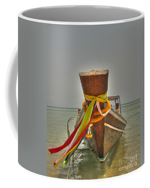 Transportation Coffee Mug featuring the photograph Long Tail Boat by Michelle Meenawong