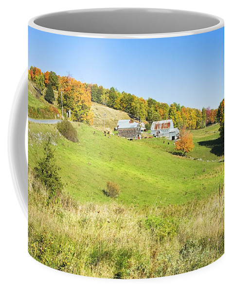 Farm Coffee Mug featuring the photograph Maine Farm On Side Of Hill In Autumn by Keith Webber Jr