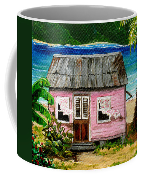 Caribbean House Coffee Mug featuring the painting Pink Caribbean House by Karin Dawn Kelshall- Best