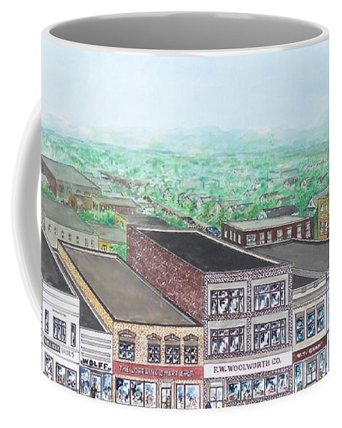 Portsmouth Ohio Chillicothe Street Coffee Mug featuring the painting Portsmouth Ohio 1948 Dime Store Row 3rd To 4th by Frank Hunter