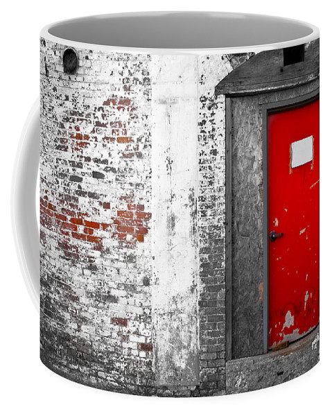 Huxley Coffee Mug featuring the photograph Red Door Perception by Bob Orsillo