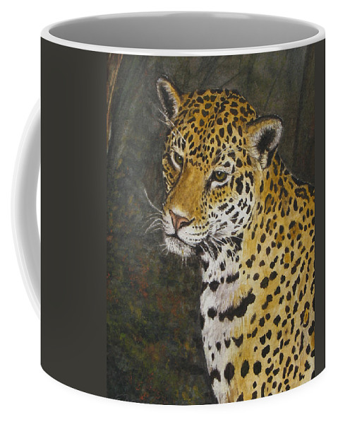 Wildlife Coffee Mug featuring the painting South American Jaguar by Elaine Booth-Kallweit