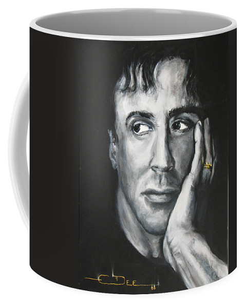 Copland Coffee Mug featuring the painting Sylvester Stallone by Eric Dee