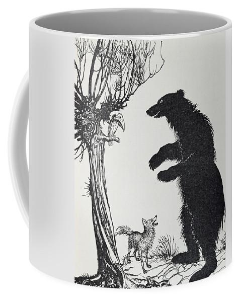 Arthur Rackham Coffee Mug featuring the painting The Bear And The Fox by Arthur Rackham