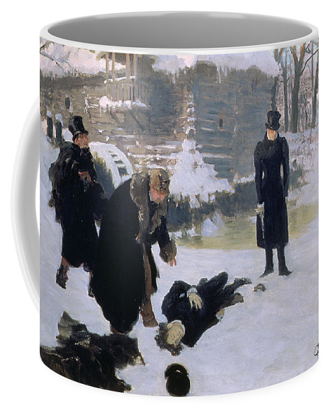 Wanderers; Snow; Death; Winter; Top Hat; Gun; Challenge; Shot; Dead; Honour; Pistol; Peredvizhniki; Peredvizhniki Group Coffee Mug featuring the painting The Duel by Ilya Efimovich Repin