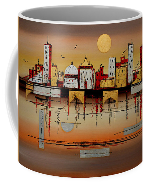 Abstract Coffee Mug featuring the painting Urban Landscape by Miroslav Stojkovic - Miro