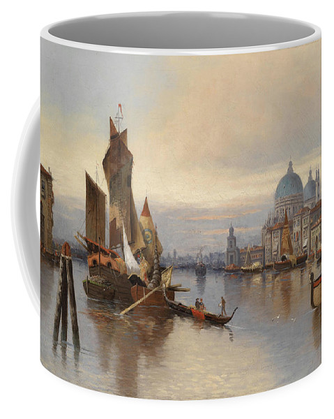Karl Kaufmann (1843-1905) Coffee Mug featuring the painting Venetian Scene With A View Of Santa Maria Della Salute by MotionAge Designs