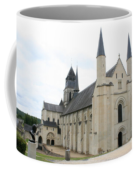Cloister Coffee Mug featuring the photograph West Facade Of The Church - Fontevraud Abbey by Christiane Schulze Art And Photography