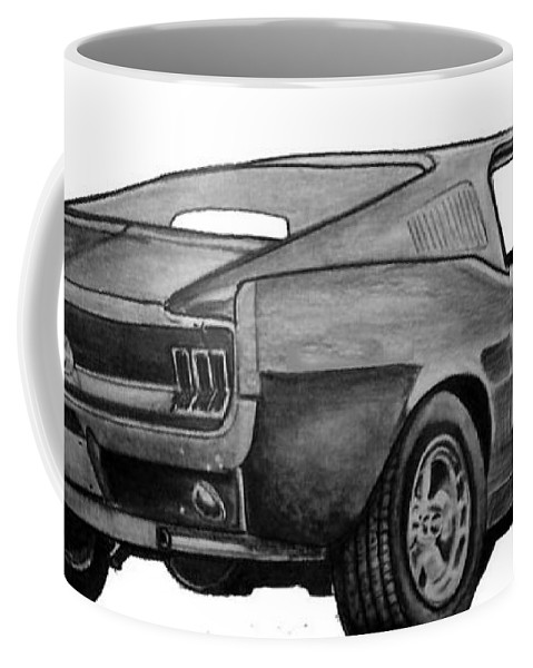 Coffee Mug featuring the drawing 010-stang by Keith Spence